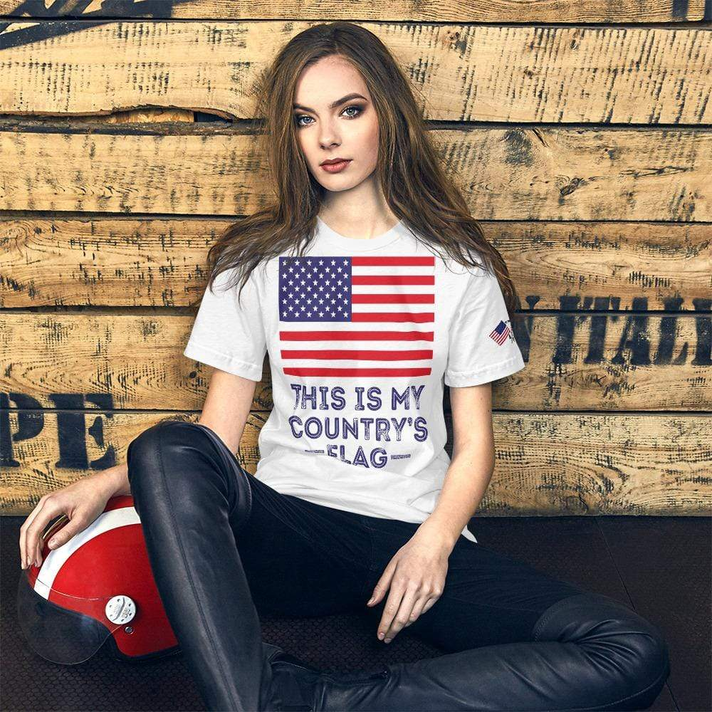 Unisex American Flag Tee White T-Shirt Made in USA