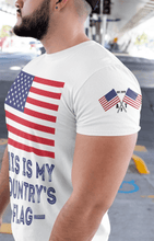 Load image into Gallery viewer, Unisex American Flag Tee White T-Shirt Made in USA