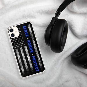 USA Flag thin blue Serve honor Protect iPhone Case XR 11