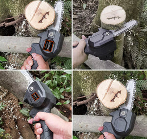 4'' Rechargeable  Handheld Cordless Electric Chainsaw Wood Cutter - DogsandHome