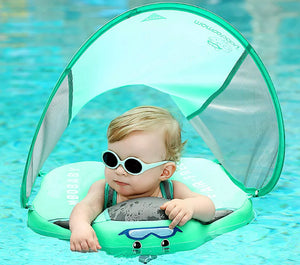 Baby Swimming Trainer Pool Float With Canopy Swim Ring - DogsandHome