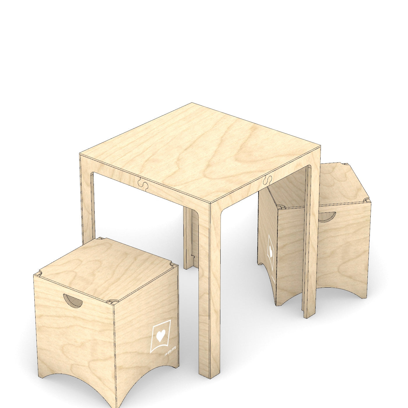 "Table Set (25"" Square + 2 Stools) - from $231"