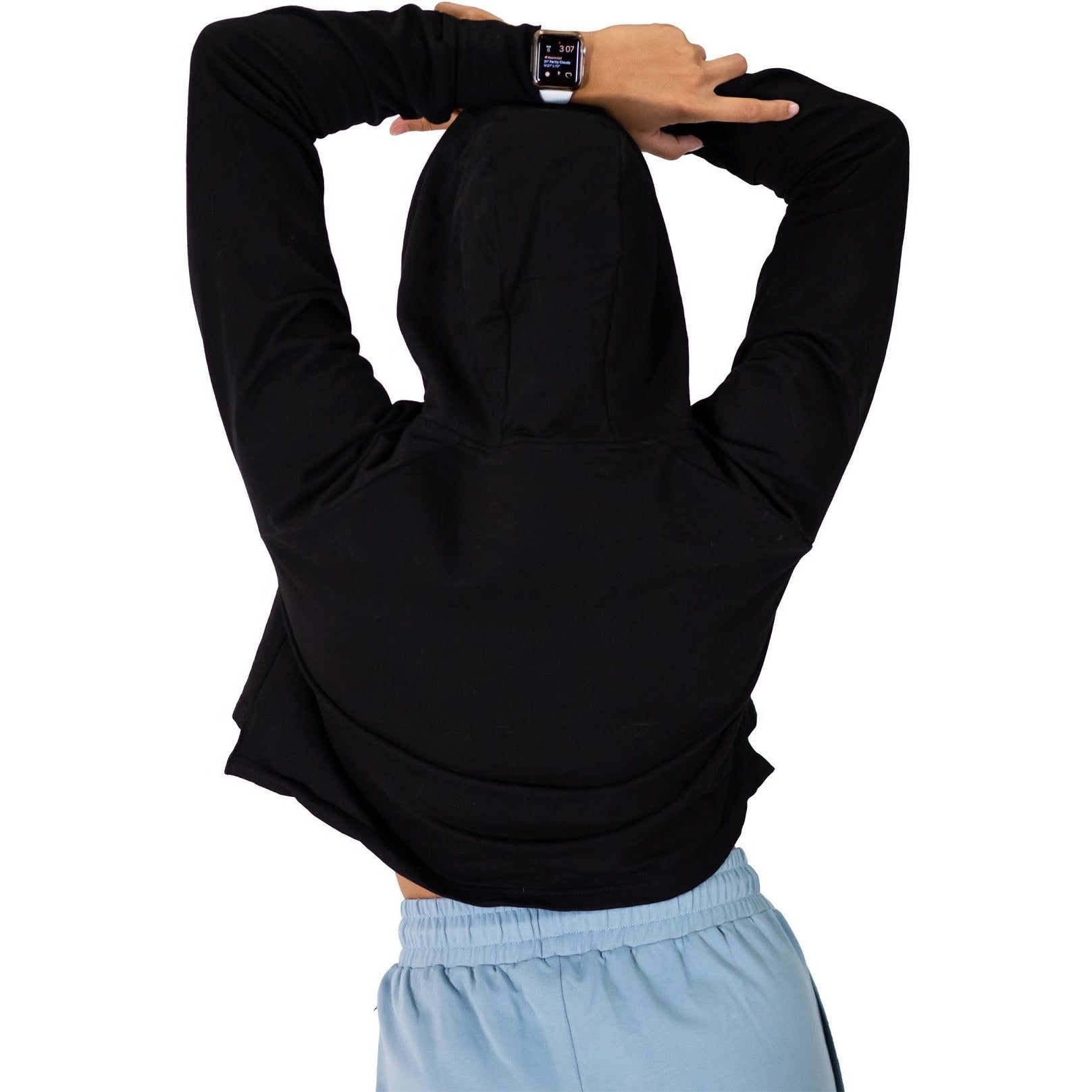 Apricity Crop Top Hoodie in Black