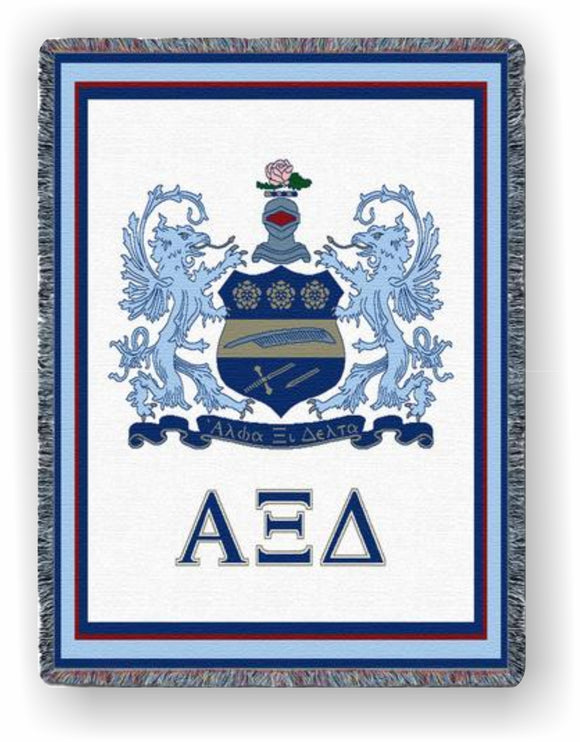 Alpha Xi Delta – Afghan - Throw Blanket, AXD-5421-T; AXD-9016-T