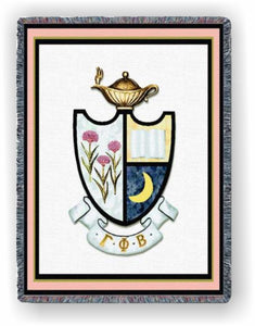 Gamma Phi Beta – Afghan - Throw Blanket, GFB-5443-T; GFB-9004-T