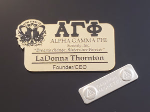 Alpha Gamma Phi - Name Badge for Events and Meetings - Gold or Silver - AGF-BDG-MAG