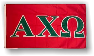 Alpha Chi Omega - 3'x5' Flag with Green Letters on Red Background