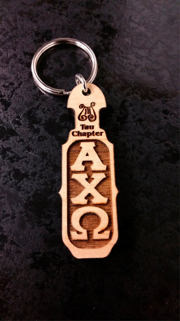 Alpha Chi Omega - Paddle Keychain with Lyre and Letters