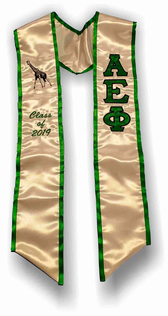 Alpha Epsilon Phi - Graduation Stole with Letters, Giraffe and Date