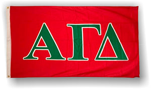 Alpha Gamma Delta - 3'x5' Flag with Green Letters on Red