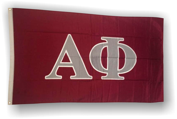 Alpha Phi - 3'x5' Flag with Grey Letters on a Maroon Background