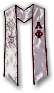 Alpha Phi - Graduation Stole with Letters - Ivy and Date