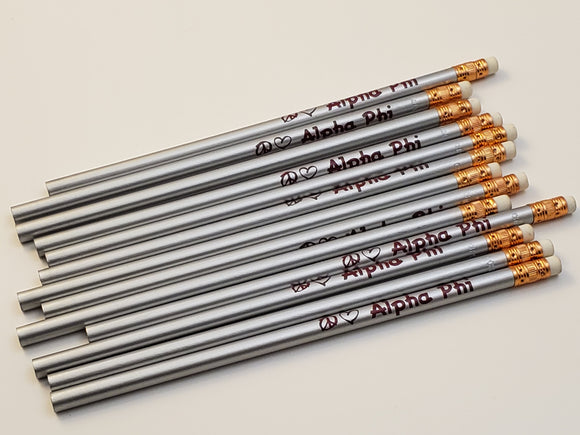 Alpha Phi - Grey Pencils with Maroon Writing - Rah Rah