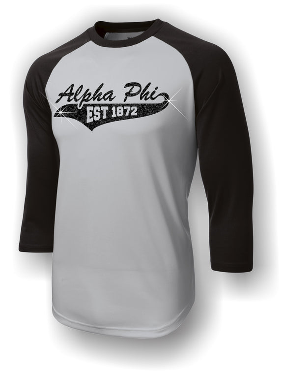 Alpha Phi - Baseball Jersey with Tail on Glitter