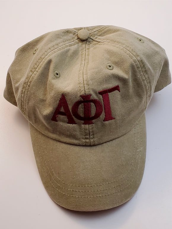 Alpha Phi Gamma - Vintage Style Baseball Cap with Leather Strap