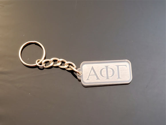 Alpha Phi Gamma - Clear Rectangular Key Chain with Letters