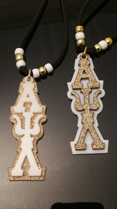 Alpha Psi Lambda - Shimmering Gold with White Acrylic Tiki
