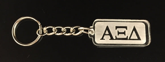 Alpha Xi Delta - Rectangular Etched Acrylic Keychain with Greek Letters