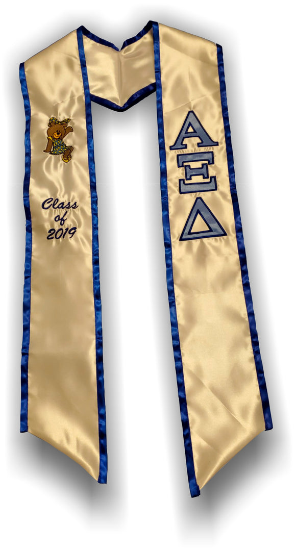 Alpha Xi Delta - Graduation Stole with Bear and Founding Year