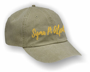 Sigma Pi Alpha – Baseball Cap, Embroidered, AD969 6-Panel Low-Profile Washed Pigment-Dyed Cap