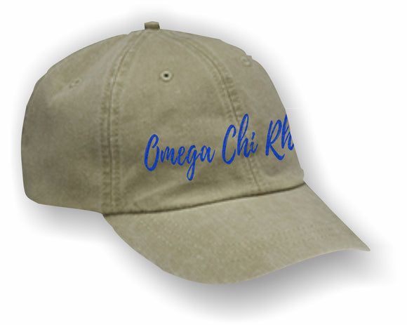 Omega Chi Rho – Baseball Cap, Embroidered, AD969 6-Panel Low-Profile Washed Pigment-Dyed Cap