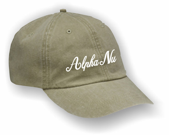 Alpha Nu – Baseball Cap, Embroidered, AD969 6-Panel Low-Profile Washed Pigment-Dyed Cap
