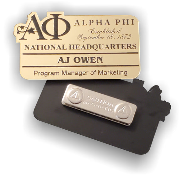 Alpha Phi - Name Badge for Events and Meetings - Gold or Silver - AF-BDG-MAG