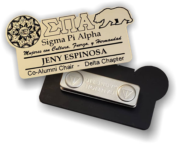 Sigma Pi alpha Name Badge for Events and Meetings in Gold or Silver - SPA-BDG-MAG
