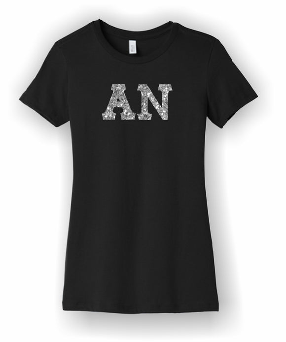 Alpha Nu - Ladies Tee with Glitter Letters - BC6004