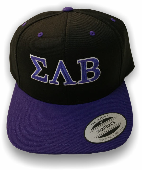 Sigma Lambda Beta – Baseball Cap, Embroidered, NE400 Snapback Cap - Purple/Black