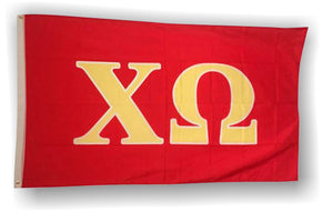 Chi Omega - 3'x5' Flag with Gold Letters on Red Background