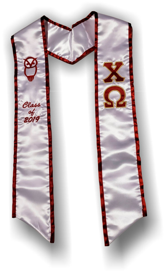 Chi Omega - Graduation Stole with Letters - Owl and founding Year