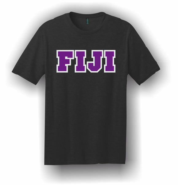 Phi Gamma Delta, FIJI – T-Shirt, Embroidered (Single Stitched)  – 5180 Hanes® Beefy-T® - 100% Cotton T-Shirt