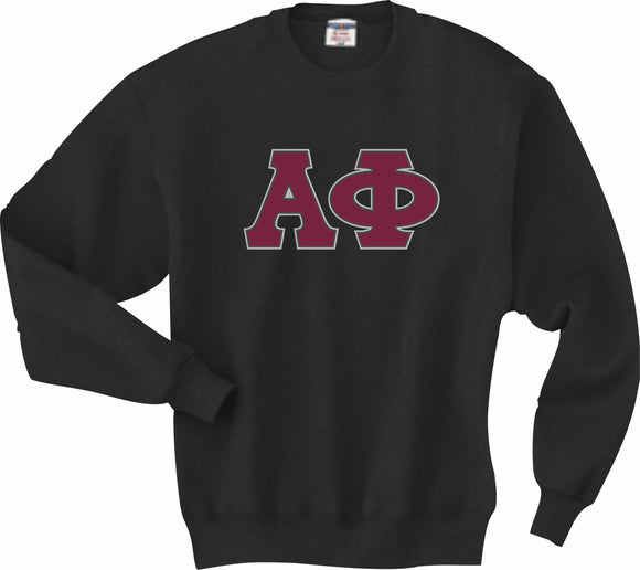 Alpha Phi–Crewneck Sweatshirt, Embroidered (Double Stitched)–4662M JERZEES® SUPER SWEATS®