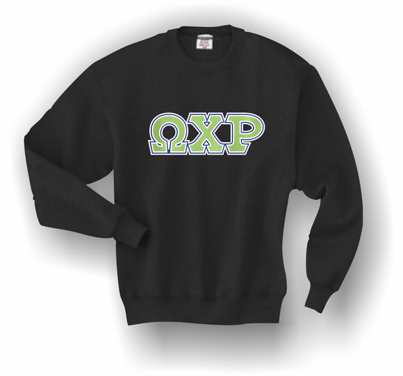 Omega Chi Rho–Crewneck Sweatshirt, Embroidered (Double Stitched)–4662M JERZEES® SUPER SWEATS®