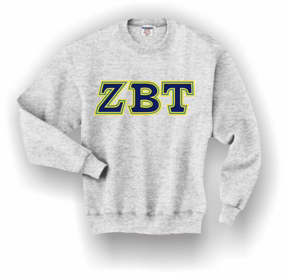 Zeta Beta Tau – Crewneck Sweatshirt, Embroidered (Double Stitched) – 4662M JERZEES® SUPER SWEATS®