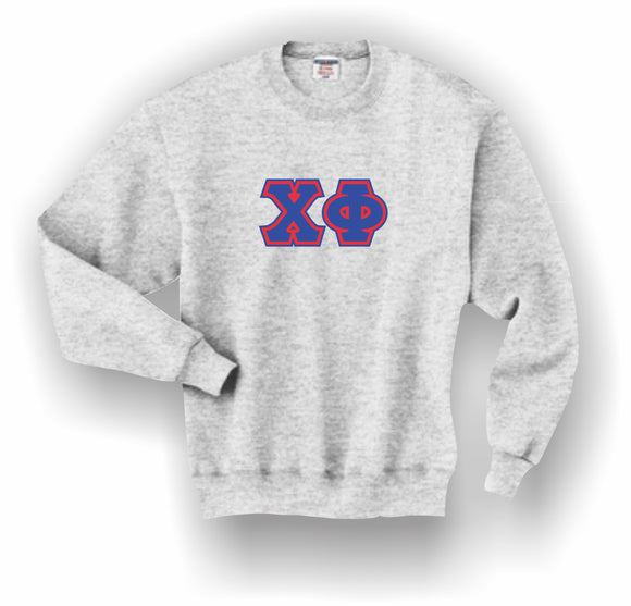 Chi Phi – Crewneck Sweatshirt, Embroidered (Double Stitched) – 4662M JERZEES® SUPER SWEATS®