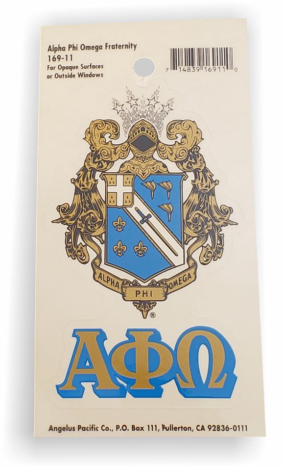 Alpha Phi Omega - Decal with Letters and Crest