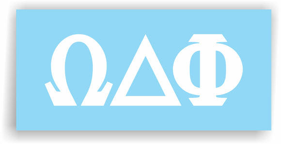 Omega Delta Phi – Decal for Car, Laptop or Anywhere; Vinyl Decal in 2 Inch or 3 Inch sizes