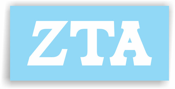 Zeta Tau Alpha – White Vinyl Decals for Car, Computer or anywhere