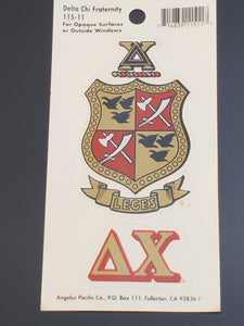 Delta Chi - Decal with Letters and Crest