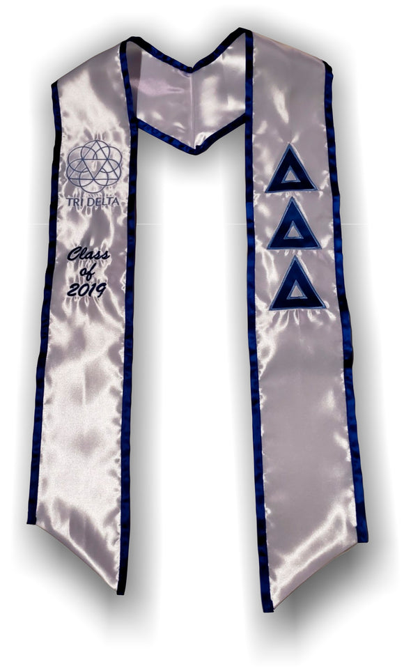 Delta Delta Delta - Graduation Stole with Letters - Vertical Logo and Year
