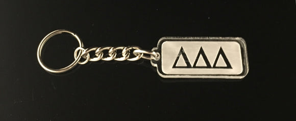 Delta Delta Delta - Rectangular Etched Acrylic Keychain with Greek Letters