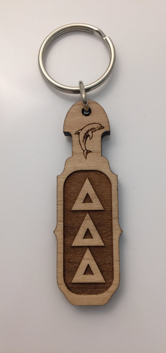 Delta Delta Delta - Wood Keychain with Greek Letters