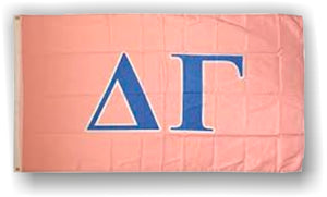 Delta Gamma - 3'x5' Polyester Flag with Light Blue Letters on Pink