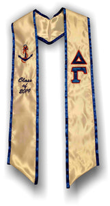 Delta Gamma - Graduation Stole with Letters, Anchor and Date