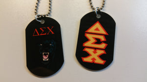 Delta Sigma Chi - Dog Tags with Panther or Gold on Red Letters on Black