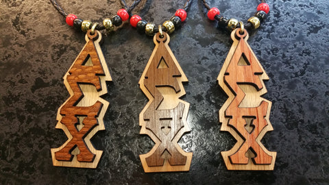 Delta Sigma Chi - Exotic Wood Tikis with Letters