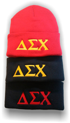 Delta Sigma Chi - Assorted Fold Up Beanies with Greek Letters