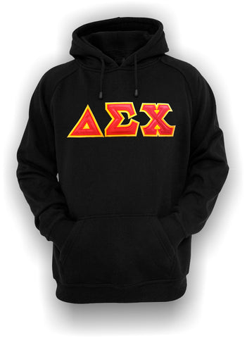 Delta Sigma Chi - Tradition Black Hoodie with Red on Gold Letters